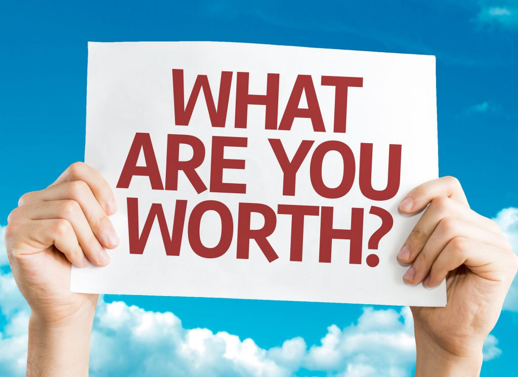 What Are You Worth? card with sky background
